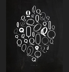 poster symbol q vector image