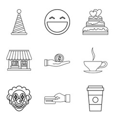Private bakery icons set outline style vector