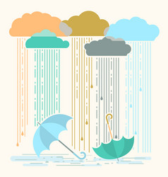 rain with stylish flat clouds and vector image