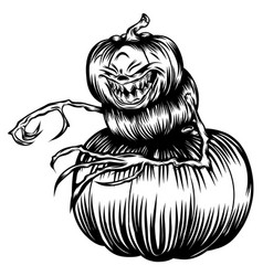 scary pumpkins with hand vector image