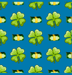 seamless pattern with clover and money vector image