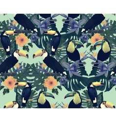 Seamless vintage style pattern with toucans Hand vector image