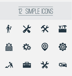 Set of simple repairing icons elements toolkit vector