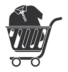 shopping cart with shirt vector image