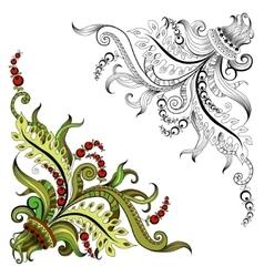Sketchy doodles decorative floral outline vector image