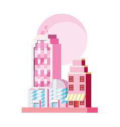 Skyscrapers futuristic architecture city store vector