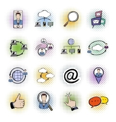 Social network comics icons set vector