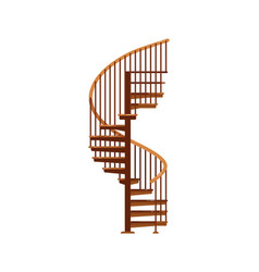 Spiral staircase isolated wooden staircase vector