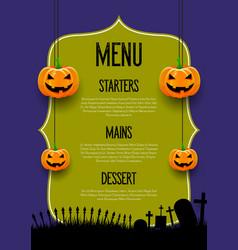 spooky halloween menu design vector image