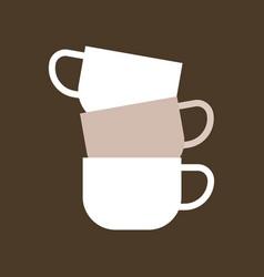 Stacked of three ceramic mugs flat icon vector
