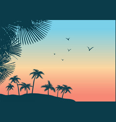 Summer tropical palm trees landscape nature vector