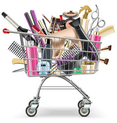 Supermarket cart with professional cosmetics vector