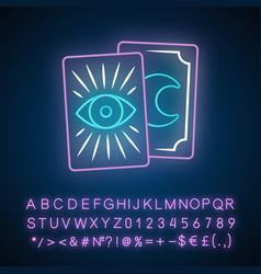 Tarot cards neon light icon tarocchi tarock vector