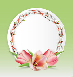 Template with bouquet tulips and willow twigs vector