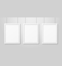 three realistic modern interior white blank vector image