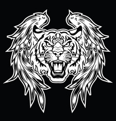 Tiger head wings logo wing brand and logoty vector