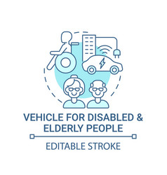 Transport for disabled and elderly people concept vector