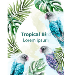 Tropic card watercolor with colorful parrot vector