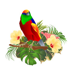 tropical bird on a branch with tropical flowers vector image