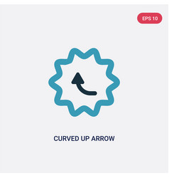 Two color curved up arrow icon from user vector