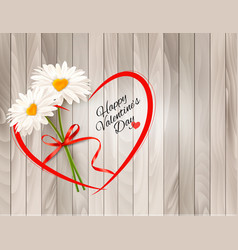 valentines day background two daisies with heart vector image