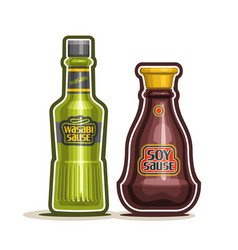 Wasabi and soy sauce bottle vector