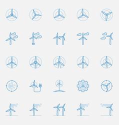 Wind turbine blue icons vector