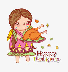 Woman indigenous and turkey food and leaves vector