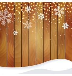Wooden Christmas background with a snowfall vector image