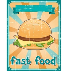 Fast food background with hamburger in retro style vector image