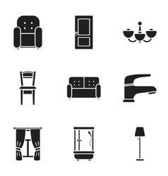 Furniture set icons in black style Big collection vector image