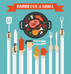 barbecue and grill concept design flat with hands vector image
