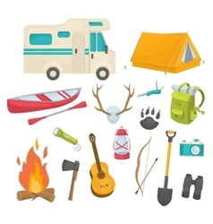 Camping Decorative Icons Set vector image