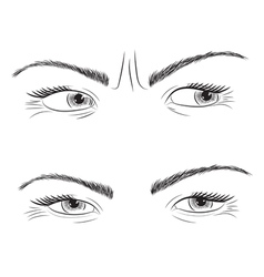 Drawing set woman eyes vector image vector image