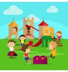 Kids on playground vector image