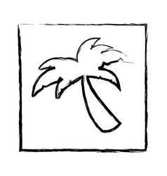 monochrome blurred silhouette of frame with palm vector image