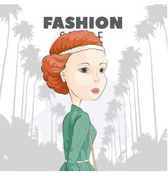 red-haired girl on a background of palms vector image vector image