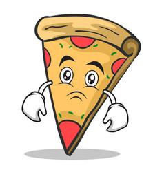 sad face pizza character cartoon vector image vector image
