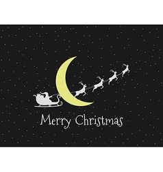 Santa Claus in a sleigh on background of the moon vector image vector image