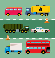 set of transportation flat style colorful vector image vector image