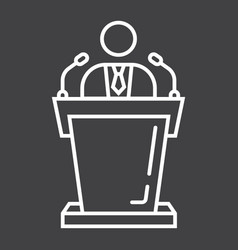 speaker line icon business and tribune vector image