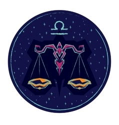 Zodiac sign Libra on night starry sky background vector image