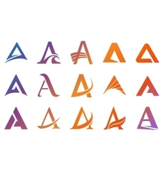 Alphabet symbols and elements of A letter vector image vector image