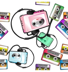 audio tape pattern vector image vector image