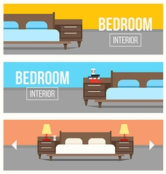 Bedroom interior design banners vector image