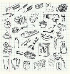 freehand drawing hygiene and cleaning products vector image