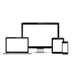 realistic computer monitor laptop smart phone vector image vector image