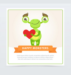cute funny green monster holding red heart happy vector image