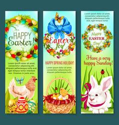 Easter holiday egg rabbit chicken banner set vector
