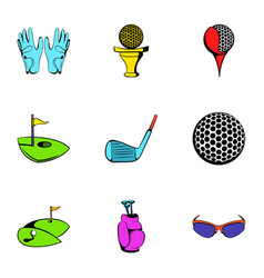 golf field icons set cartoon style vector image vector image
